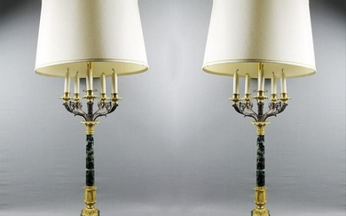 "Pair Of French Marble And Bronze Candelabra Lamps 43"" X"