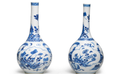 A pair of blue and white bottle vases