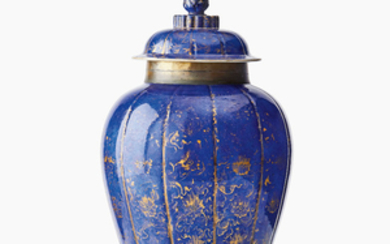 A Chinese powder blue and gilt-decorated baluster jar and cover