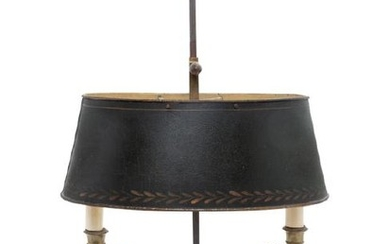 An Empire Style Brass and Painted Tôle Two-Light