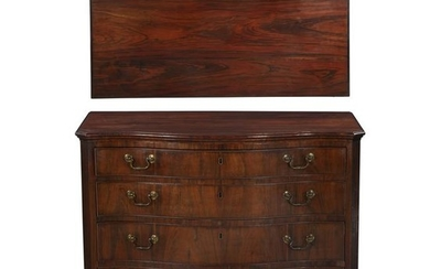 Fine George III exotic hardwood serpentine chest