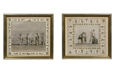 A Group of Six Continental Colored Etchings Di