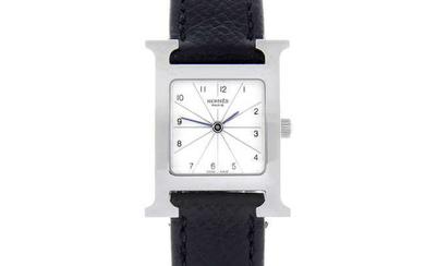 HERMÈS - a lady's stainless steel Heure H wrist watch.