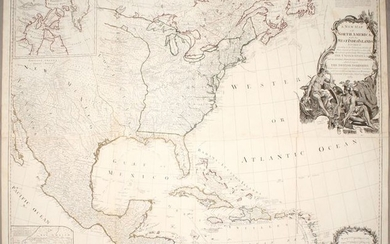 """Important Large Map of North America Featuring the Young United States, """"A New Map of North America, with the West India Islands. Divided According to the Preliminary Articles of Peace, Signed at Versailles, 20, Jan. 1783..."""", Sayer, Robert"""