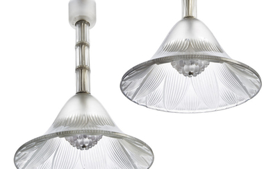 LALIQUE, A PAIR OF TREVISE CHANDELIERS, NO. 2473, DESIGNED 1927