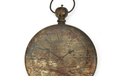 Painted wood double-sided pocket watch trade sign late 19th/early...