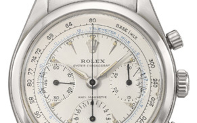 ROLEX. A RARE STAINLESS STEEL CHRONOGRAPH WRISTWATCH WITH TRANSITIONAL TWO-SCALE DIAL AND BRACELET, SIGNED ROLEX, OYSTER CHRONOGRAPH, ANTIMAGNETIC, REF. 6238, CASE NO. 950'394, CIRCA 1963