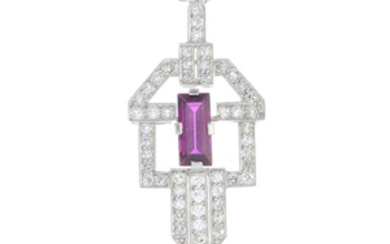 A ruby and diamond pendant, on chain.