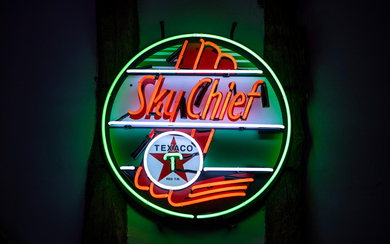A Texaco Sky Chief neon sign