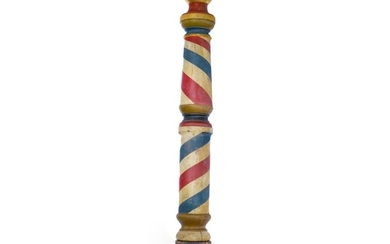 VERY LARGE TURNED AND POLYCHROME PAINT-DECORATED PINE BARBER POLE, PROBABLY VIRGINIA, CIRCA 1865