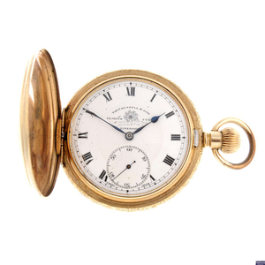 Lot Art | A gold plated full hunter pocket watch by Thomas