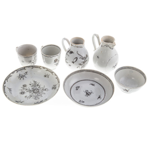 Seven Chinese Export Grisaille Tea Ware