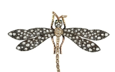 Antique Rose-Cut Diamond Dragonfly Pin