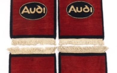 Four Hand-Knotted Burgundy Audi Car Mats
