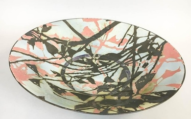 """Large Studio Pottery Bowl, second half 20th century, impressed """"ST"""" and artist's cipher on side of foot, ht. 4, dia. 18 3/4 in."""