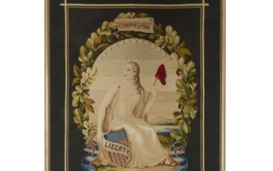 A Centennial needlework of seated Lady Liberty Signed and...