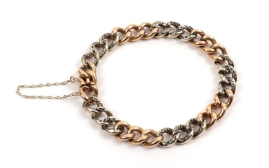 A French Diamond Set Bracelet, the curb links in series...