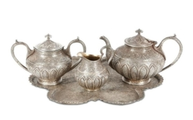A KASHMIRI WHITE METAL TEA SET Kashmir, North Indi
