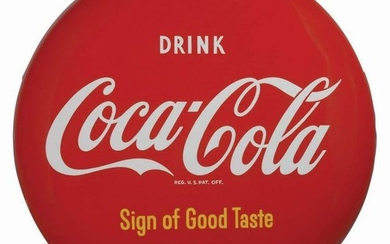DRINK COCA-COLA PAINTED TIN BUTTON SIGN.