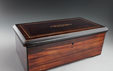 French Inlaid Ebonized Mahogany Music Box, 19th c.,