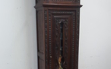 FRENCH BRITTANY STYLE CARVED OAK GRANDFATHER CLOCK