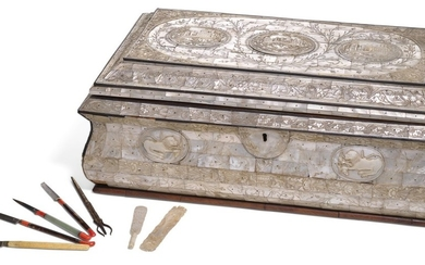 A LARGE CARVED MOTHER-OF-PEARL AND WOOD CHEST WITH CALLIGRAPHIC IMPLEMENTS, PROBABLY JERUSALEM, 18TH/19TH CENTURY