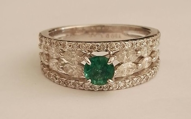 18 kt. White gold - Ring - 1.32 ct Diamond - Emerald