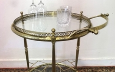 DECORATIVE BRASS AND GLASS BEVERAGE CART