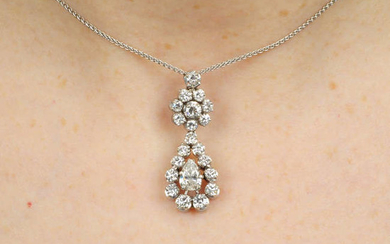 A diamond cluster pendant, with 18ct gold chain.