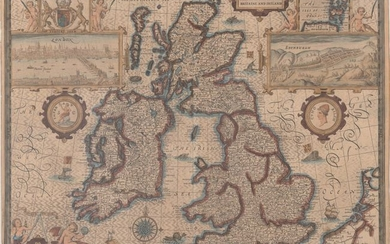 """Speed's Famous Map of the British Isles Engraved by Hondius, """"The Kingdome of Great Britaine and Ireland"""", Speed, John"""
