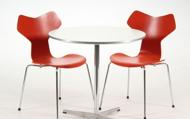 Piet Hein and Arne Jacobsen. Coffee table/kitchen table and a pair of grand prix dining chairs (3)