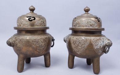 Antique Pair 19th/Early 20c Chinese Bronze Foo Dog Censers Incense Burners FR3SHMA