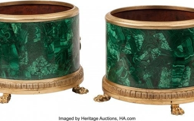 74195: A Pair of Neoclassical-Style Malachite and Gilt