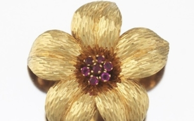 Tiffany & Co. Gold and Ruby Flower Brooch