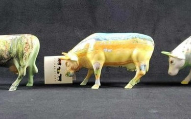 Lot of 3 Art Cow Parade Cow Figurines