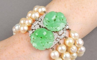 A cultured pearl four-strand bracelet, with carved and