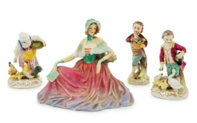 A Group of Porcelain Figures Height of tallest