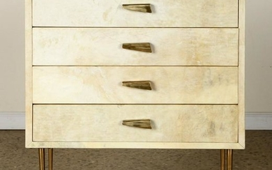 PARCHMENT COVERED FOUR DRAWER CABINET C.1960