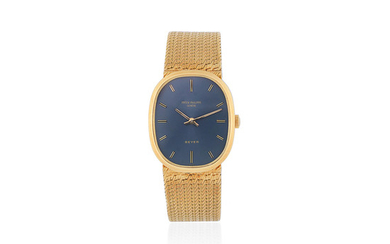 Patek Philippe. An 18K gold manual wind oval bracelet watch Retailed by Beyer