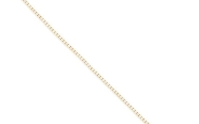 TWO DIAMOND LINE BRACELETS in 18ct gold, each set with