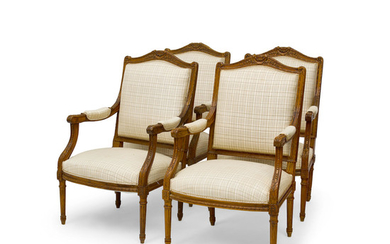 A Set of Four Louis XVI Style Carved Beech Fauteuils