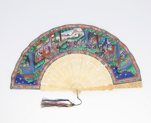 "Chinese fan of ""the thousand faces"" with sticks in ivory and leaves painted in gouache, 19th Century."