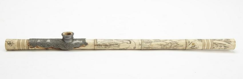 Engraved Antique Chinese Opium Pipe