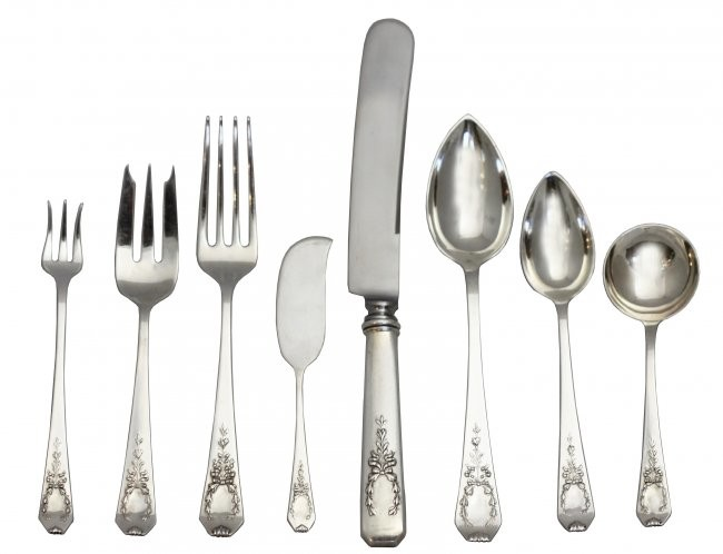 Fine Set of Gorham-Whiting Mfg Sterling Silver Flatware