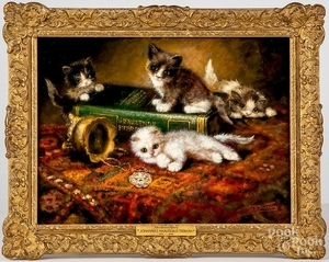 Oil on panel titled Mischievous Kittens