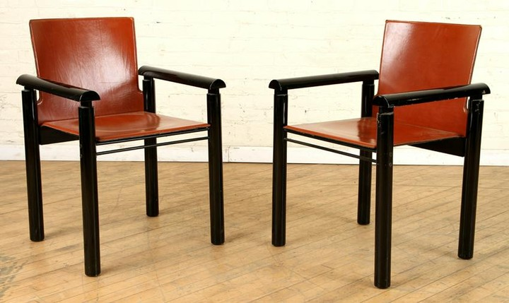 PAIR ITALIAN RED LEATHER UPHOLSTERED ARM CHAIRS