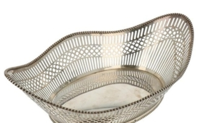 Bread basket sawn openwork with soldered pearl edge silver.