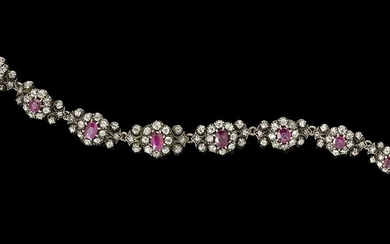 Antique Ruby and Diamond Bracelet