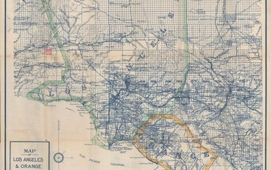 """An Early & Rare Map of Los Angeles, """"Map of Los Angeles & Orange Counties Cal. """", C.F. Weber & Co."""