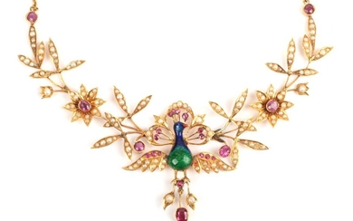 A Peacock Necklace, possibly Indian, the body of the peacock...